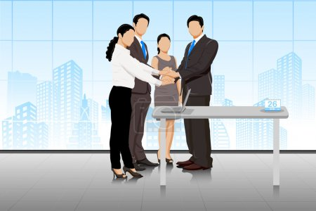 Illustration for Easy to edit vector illustration of business deal in office with business people - Royalty Free Image
