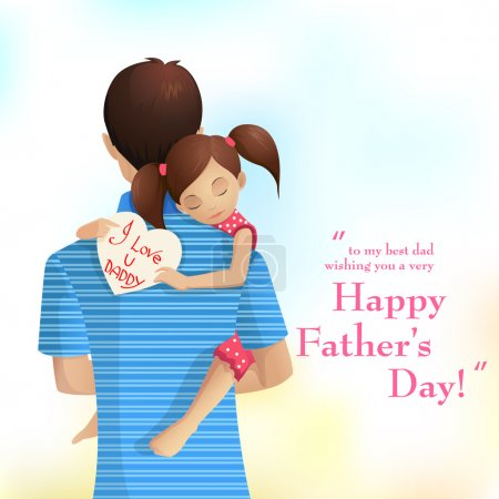 Illustration for Easy to edit vector illustration of father holding daughter in Father's Day - Royalty Free Image