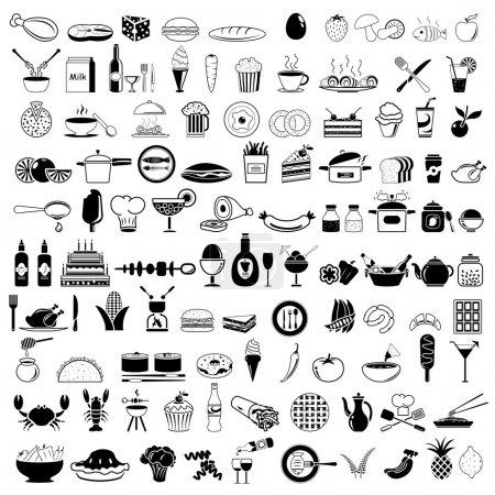 Illustration pour Illustration vectorielle facile à éditer des icônes alimentaires - image libre de droit