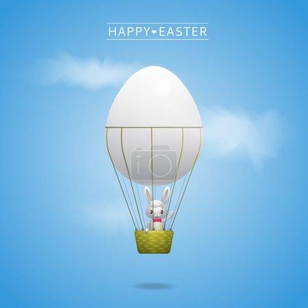 Photo pour Bonne carte de vœux de Pâques avec lapin dans le panier de ballon d'oeuf - image libre de droit