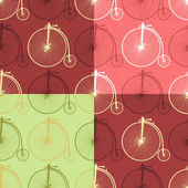 Set of abstract vintage bicycle seamless background patterns 005