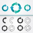 A set of vector circular arrows in colored and in ...