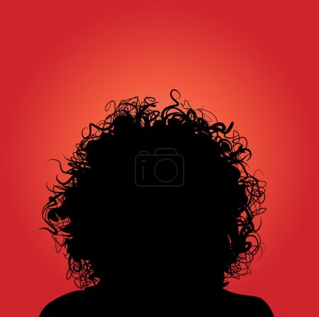 Vector silhouette of woman curly hair....