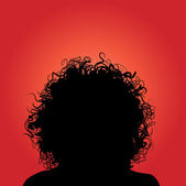 Vector silhouette of woman curly hair