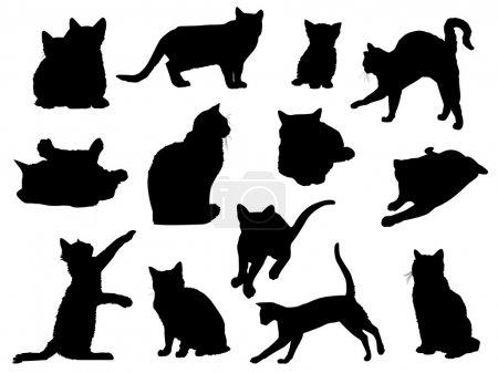 Illustration pour Jeu des silhouettes de chat vecteur. - image libre de droit