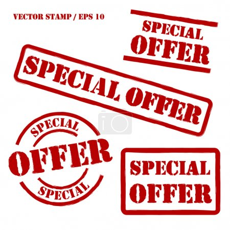 Illustration for Set of spercial offer vector stamps. Elements isolated and colors editable. - Royalty Free Image