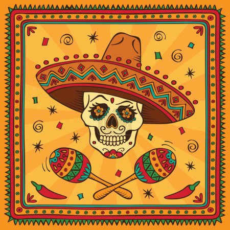 Border with mexican skull and maracas