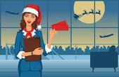 Santa girl standing in airport
