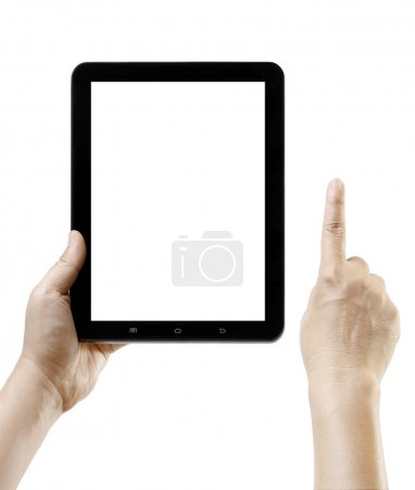 Hand holding tablet pc like ipade with blank screen space