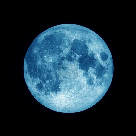 Close up of Full blue moon with star on black space background, Blue lunar in dark night sky