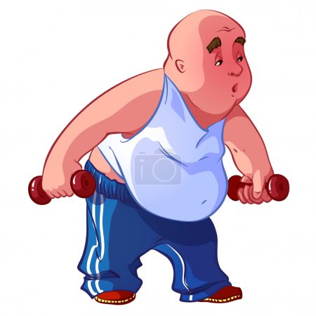 Fat man with dumbbells