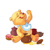 Teddy bear with a pot of honey