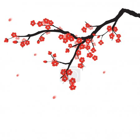 Illustration for Plum blossom in Chinese painting style - Royalty Free Image