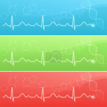 Medical background with cardiogram line and DNA