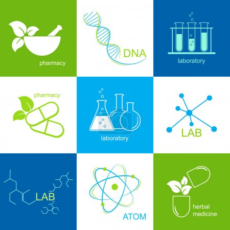 Illustration for Set of icons for health care, pharmacy and laboratory - Royalty Free Image