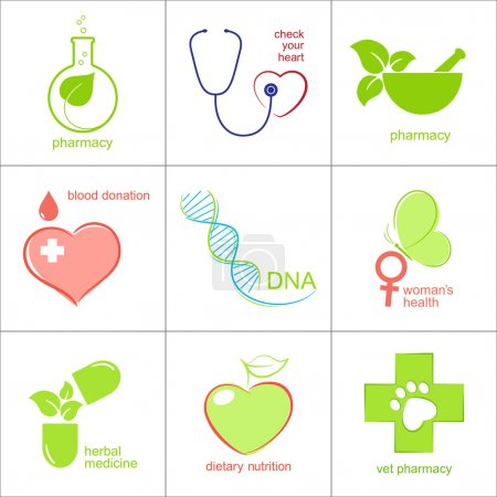 Illustration for Set of icons for medicine, health care and pharmacy - Royalty Free Image