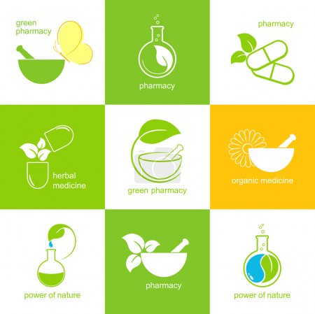Illustration for Set of icons and emblems for pharmacy and herbal medicine - Royalty Free Image