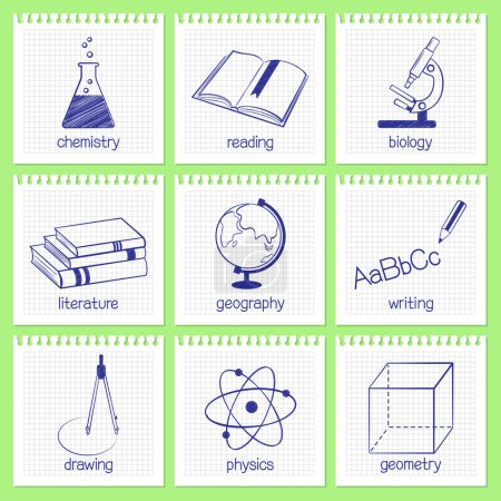 Educational subjects icons