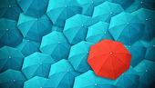 Deštník, vůdce, jedinečné, šéfe, individualita, originální, zvláštní