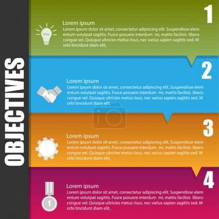 Infographic template of business objective concept
