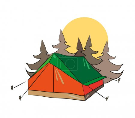 Illustration for A tent in the forest with sun in the background. EPS - Royalty Free Image