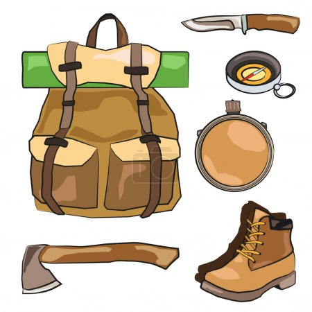 Illustration for Vector illustration of Outdoor and camping equipment. EPS - Royalty Free Image