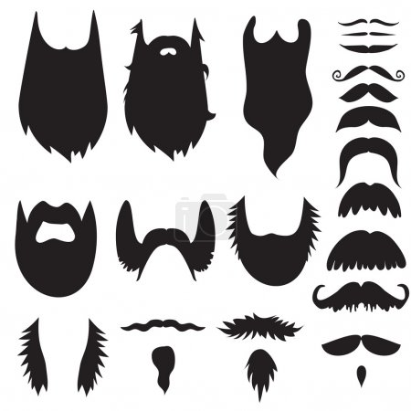 Hand drawn mustaches and beards set