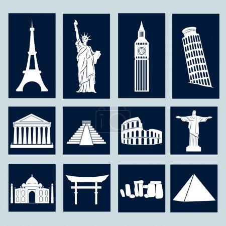 Different world landmarks illustration, vector ico...