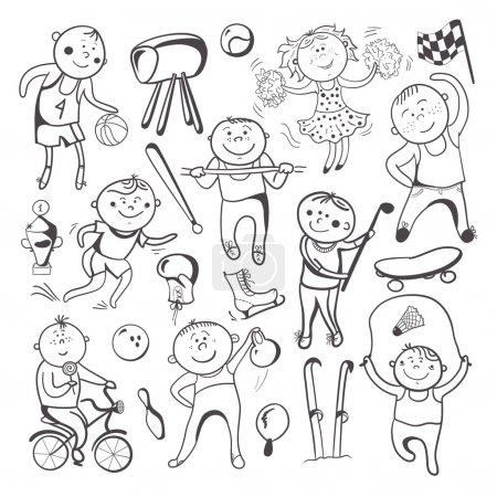 Black-white sketch sport players