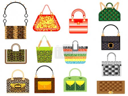 Illustration pour Sacs à main en cuir. Ensemble de sacs féminins multicolores en cuir classique sur fond blanc - image libre de droit