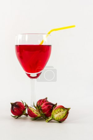 Hibiscus sabdariffa or roselle fruits and roselle juice.