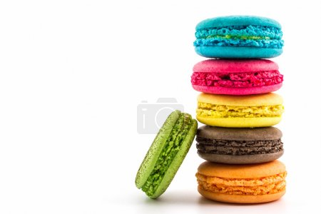 Photo for Sweet and colourful french macaroons on white background, Dessert. - Royalty Free Image