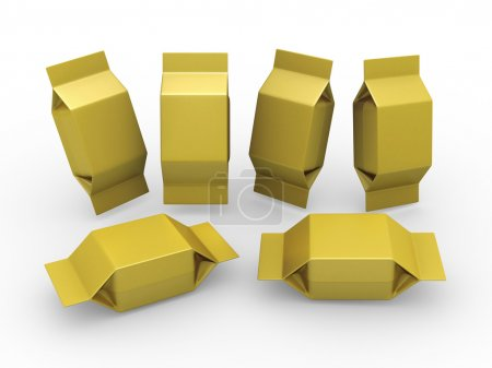 Gold blank package for square shape product with clipping path
