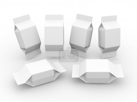 White  blank package for square shape product with clipping path