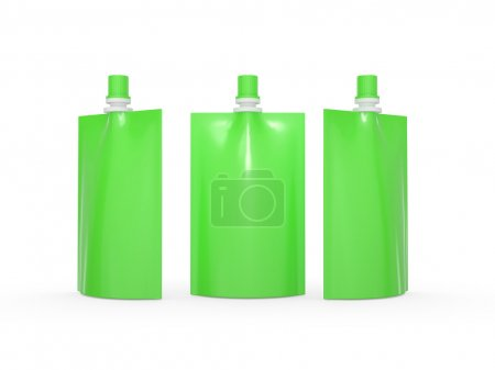 Green blank juice  bag packaging with spout lid, clipping path i