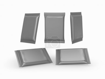 Gray foil  plain flow wrap packet with clipping path