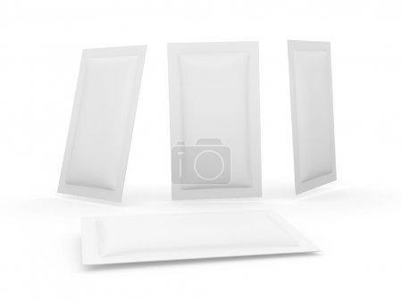 White heat sealed packet with clipping path