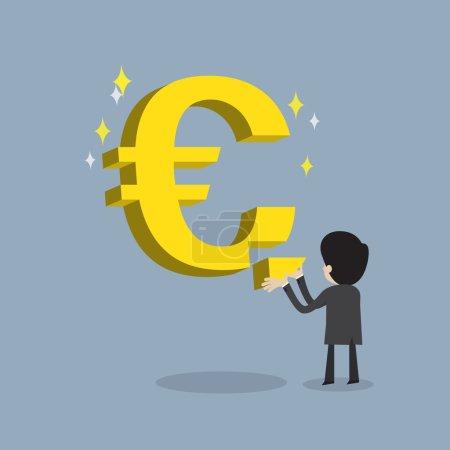 Illustration pour Homme d'affaires faire des affaires fortes en remplissant signe de la monnaie Euro aussi stable sur son argent, vecteur de bande dessinée pour le succès et growht stable de l'économie ou obtenir un retour sur investissement - image libre de droit