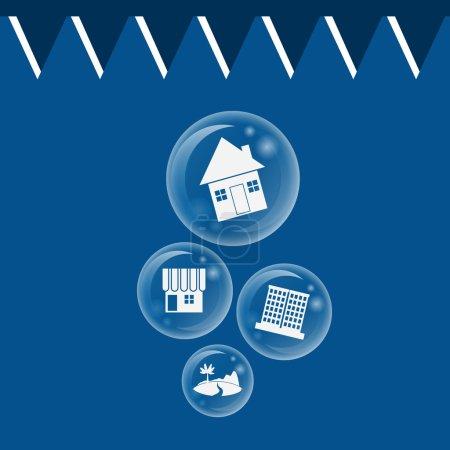 Illustration for Real estate bubble burst for Economic Bubble concept - Royalty Free Image