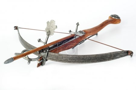 Old crossbow on white background...