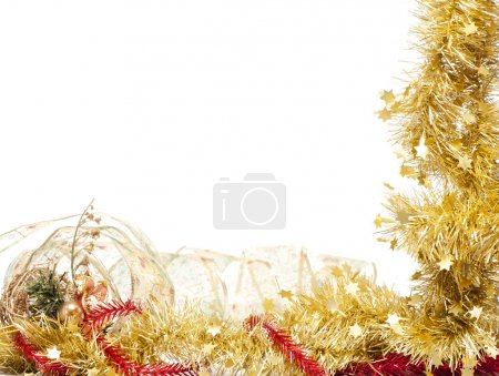 Photo for Christmas frame of shining golden tinsel on white background - Royalty Free Image
