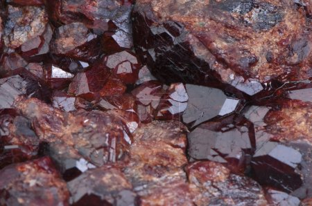 Druse of crystals garnet stone close-up...