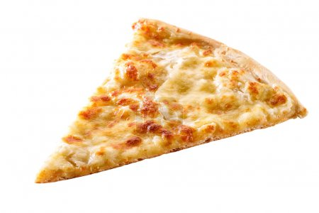 Photo for Slice of cheese pizza close-up isolated on white background - Royalty Free Image