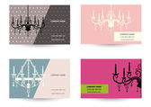 set of Business card template with chandelier
