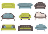 Sets of colorful sofa vector illustration furniture for an interior living room