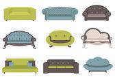 Nastaví barevné pohovky, nábytek pro int