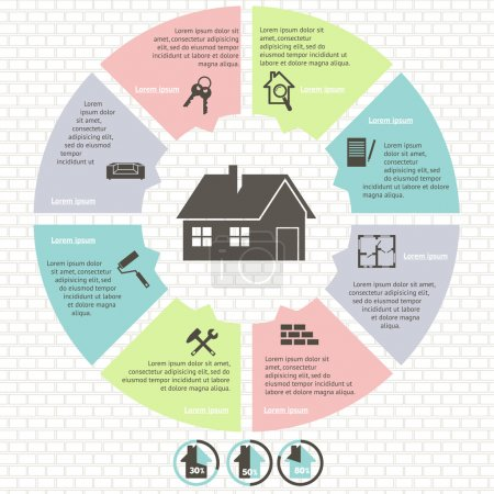 Illustration for Pie charts of real estate infographic set  vector illustration - Royalty Free Image