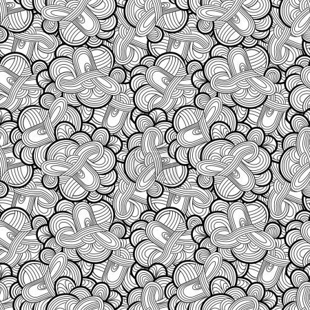 Seamless hand-drawn pattern, striped background .