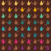 Colorful paper cranes seamless pattern