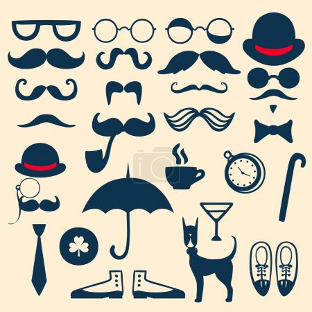 Retro set with mustache, glasses, hats, umbrella and others